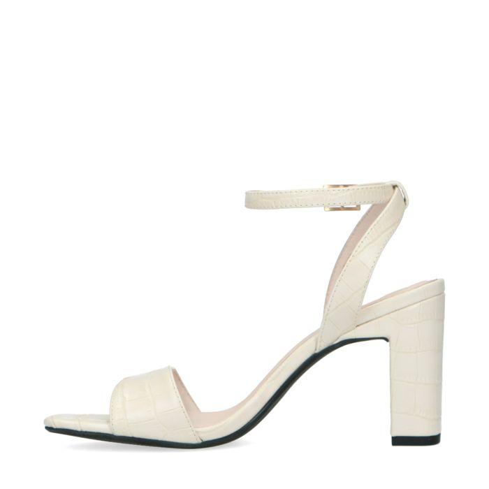 Off white crocoprint sandalen met hak