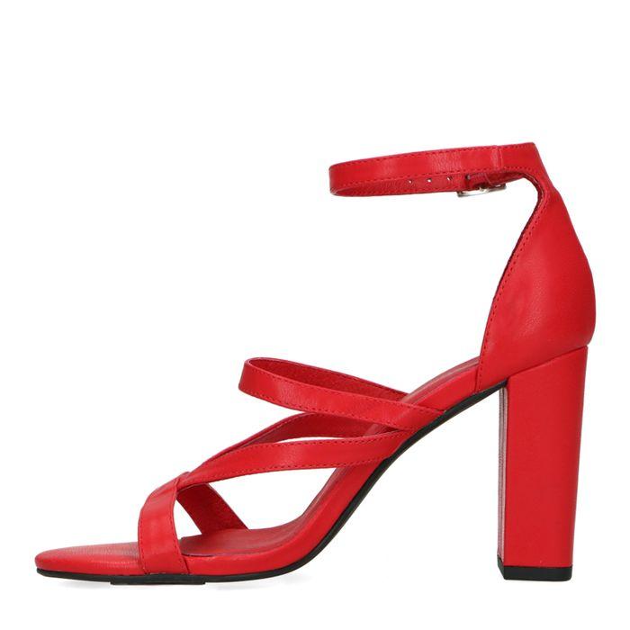 Rode sandalen met hoge hak