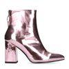 Metallic roze enkellaarsjes met hak