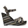 Zwarte sleehakken sandalen met print