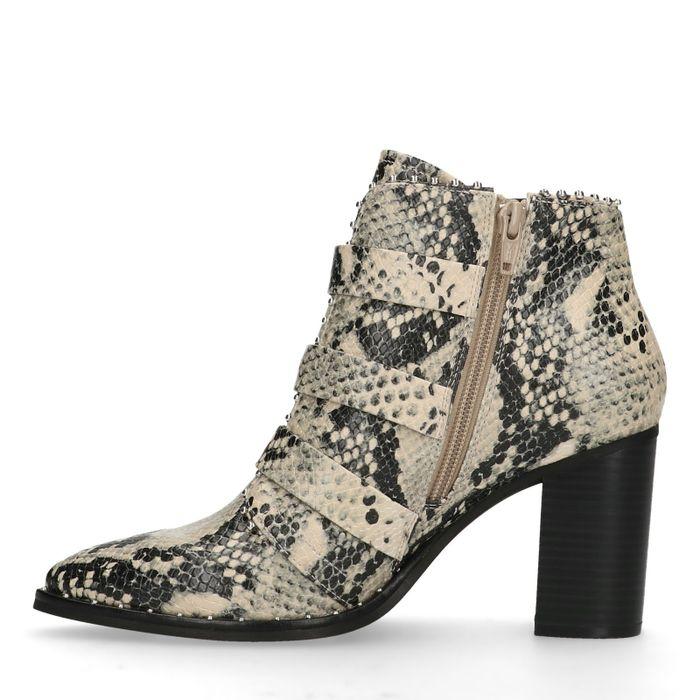 Beige buckle boots met snakeskin en hak