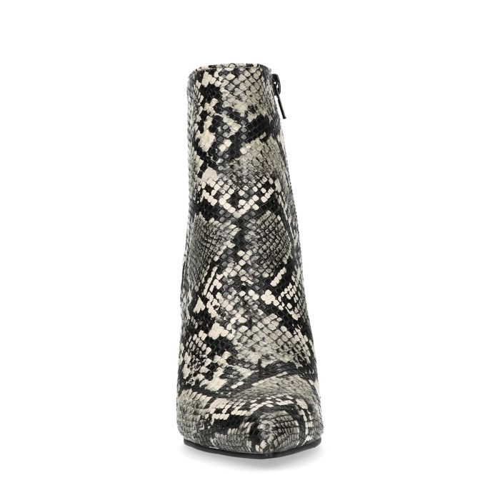 Grijze enkellaarsjes met snakeskin en naaldhak