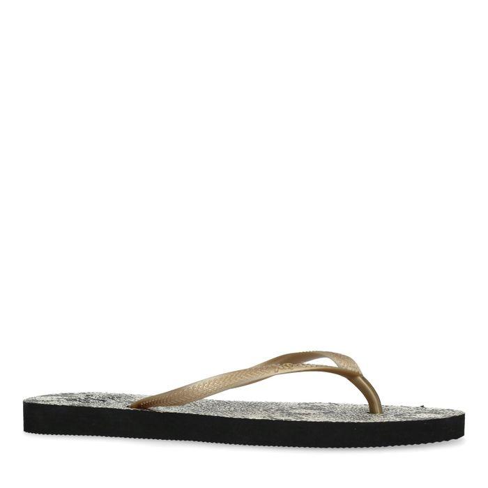 Beige snakeskin slippers