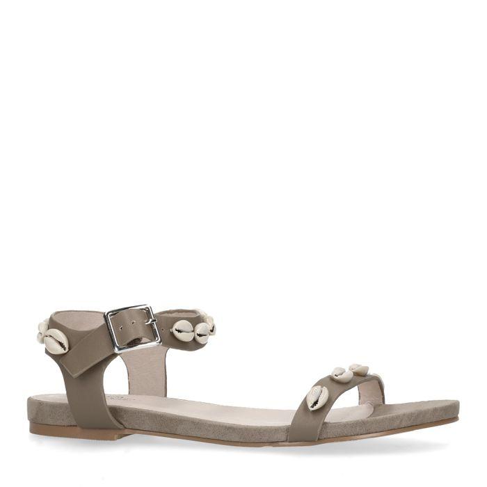 Taupe sandalen met schelpen