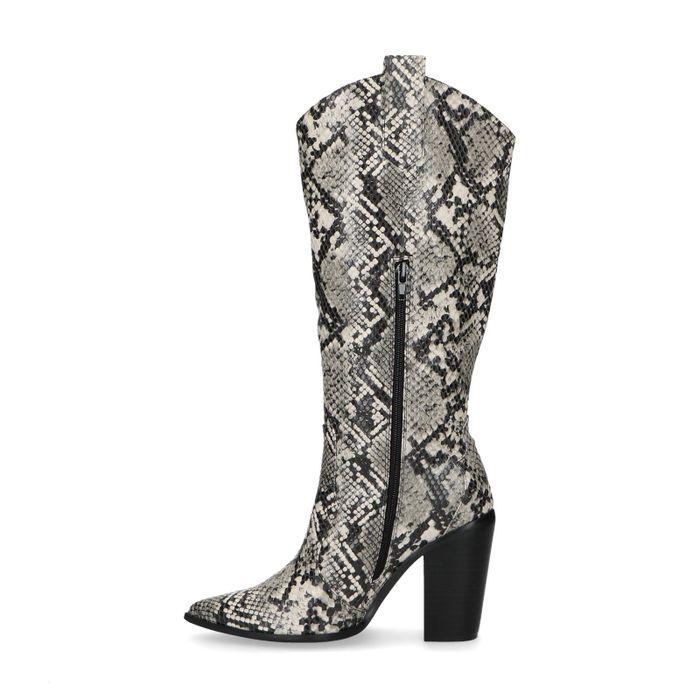 Hoge snakeskin laarzen met hak