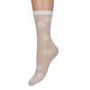 Witte doorzichtige sokken met madeliefjes