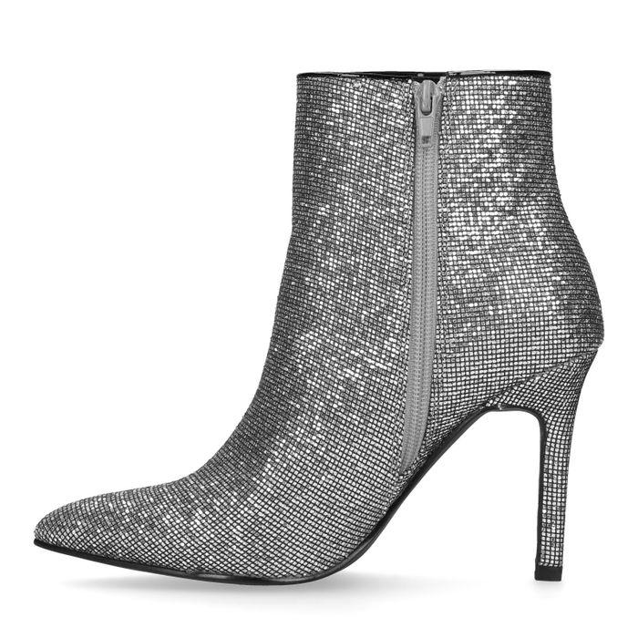 Zilveren glitter enkellaarsjes met hak