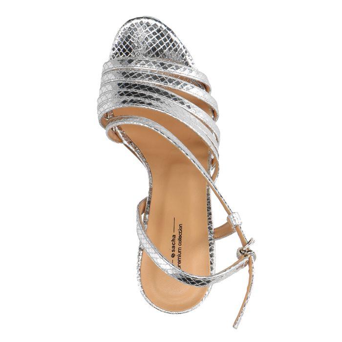 Zilverkleurige sandalen met hak