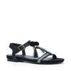 Zwarte sandalen met pompoms