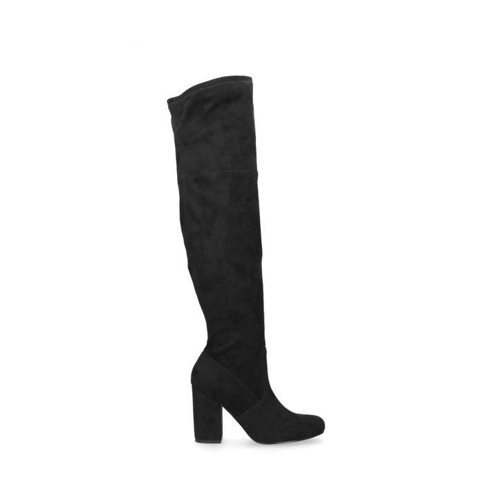 Zwarte overknee laarzen met hak