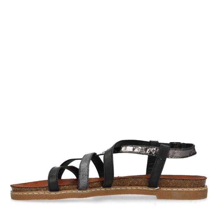 Zwarte sandalen met gekruiste banden