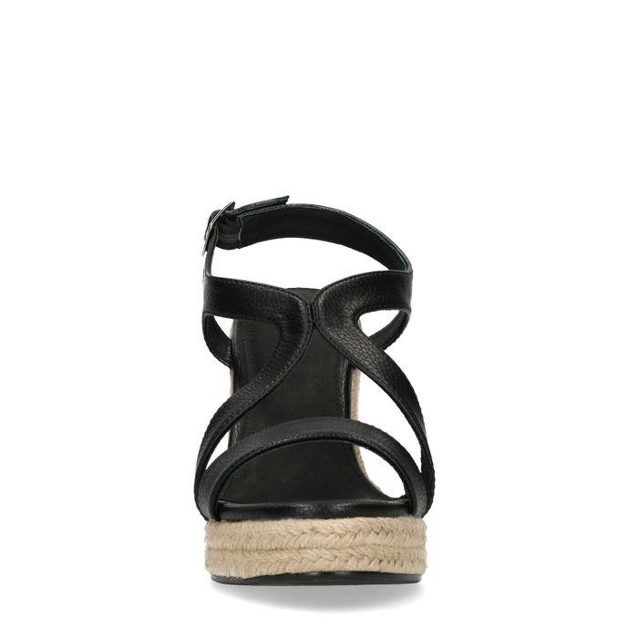 Zwarte sleehakken met rieten zool