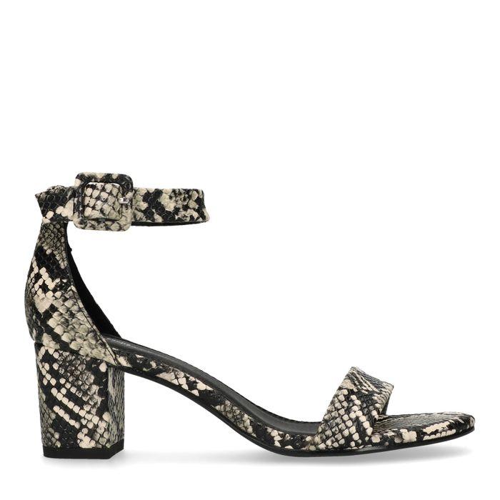 Snakeskin sandalen met hak