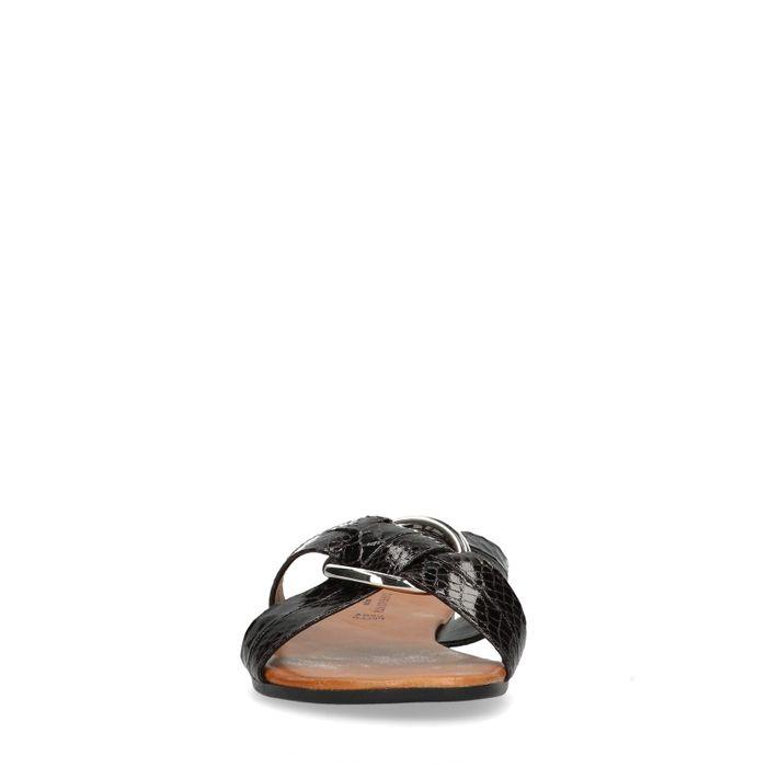 Zwarte slippers met snakeskin
