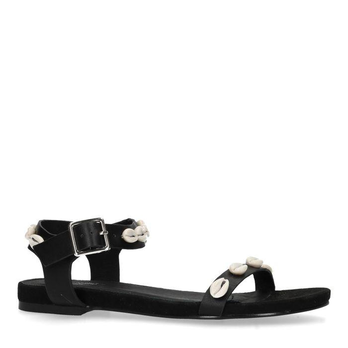 Zwarte sandalen met schelpen