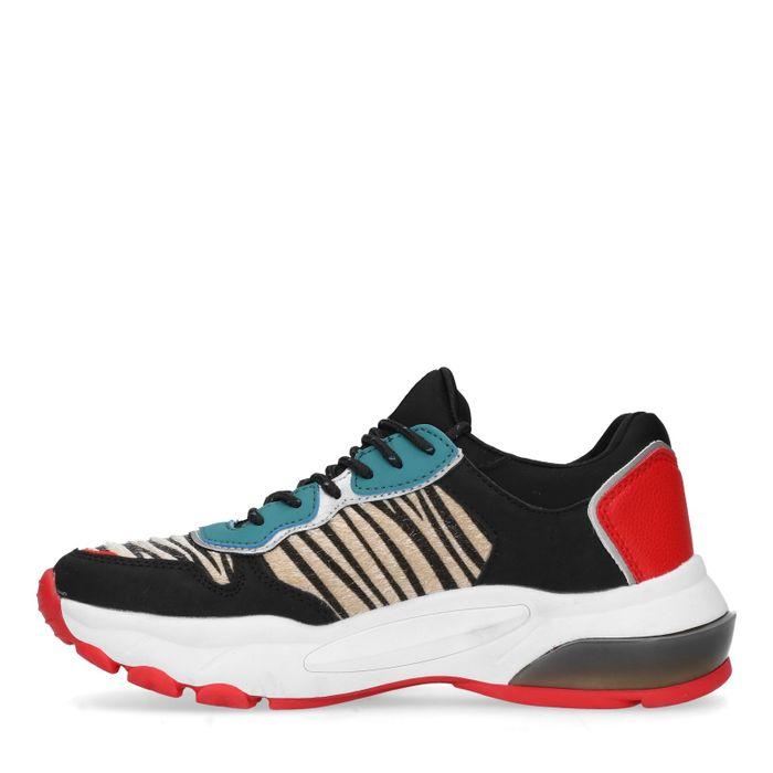 Zwarte dad sneakers met zebra print