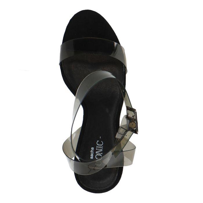 Zwarte transparante sandalen met hak