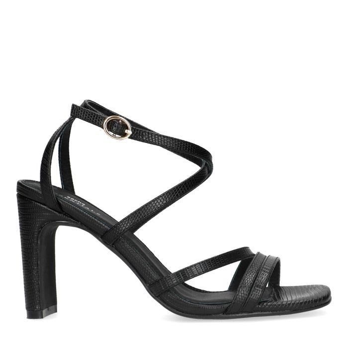 Zwarte snakeskin sandalen met hak