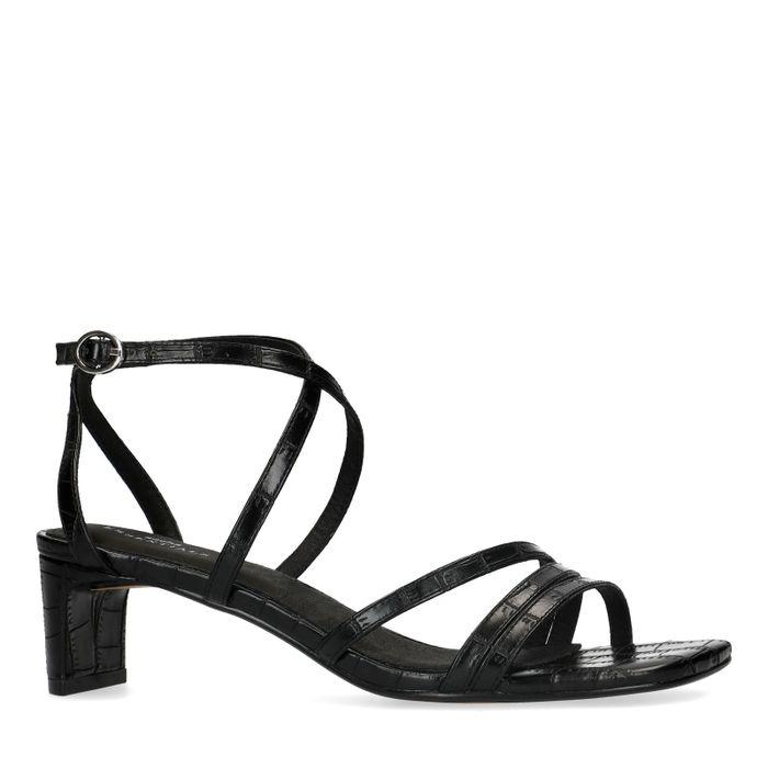 Zwarte crocoprint sandalen met smalle hak