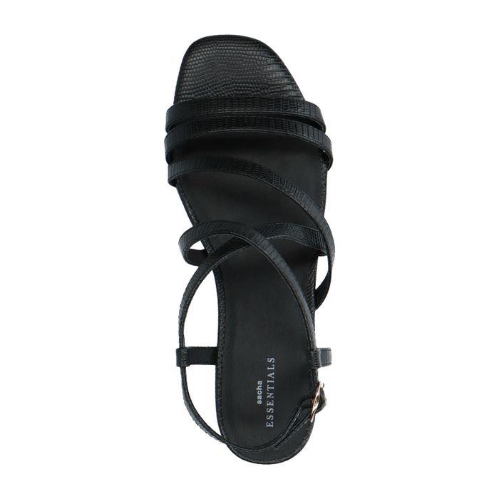 Zwarte sandalen met snakeskin