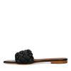 Zwarte leren slippers met gevlochten band
