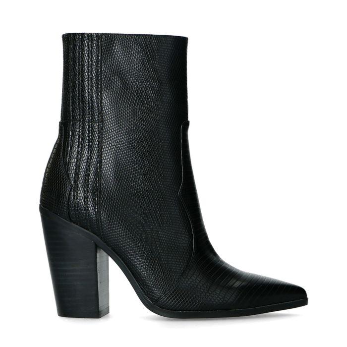 Zwarte western boots met snakeskin