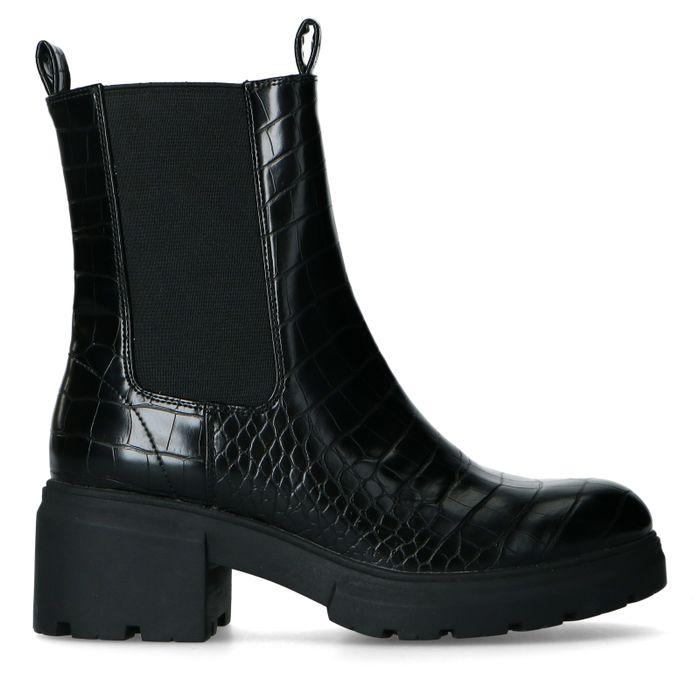 Zwarte chelsea boots met crocoprint
