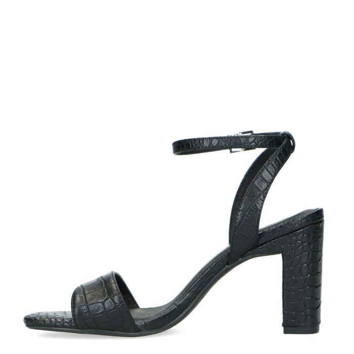 Zwarte crocoprint sandalen met hak