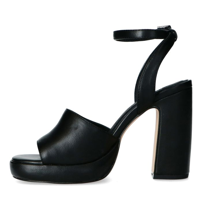 Zwarte sandalen met hoge hak