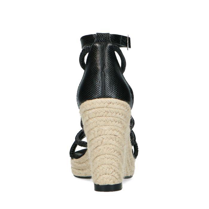 Zwarte sleehakken met snakeprint