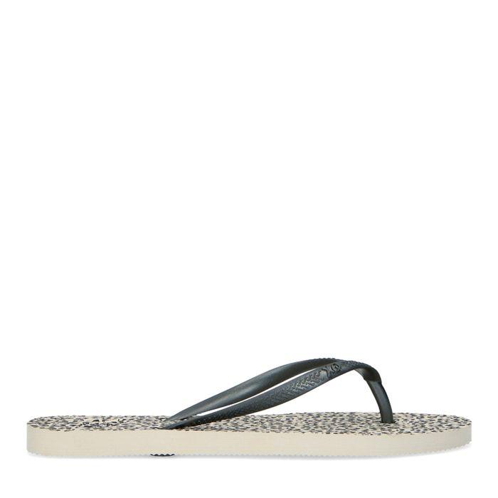 Zwarte slippers met cheetahprint