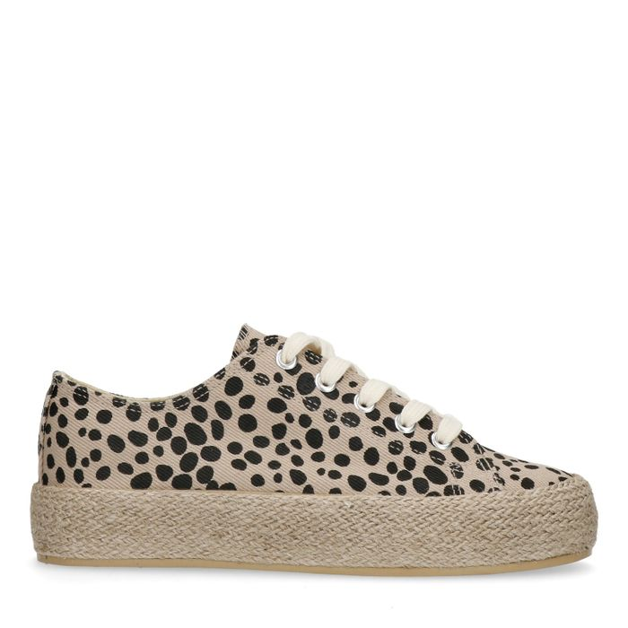 Platform sneakers met cheetahprint
