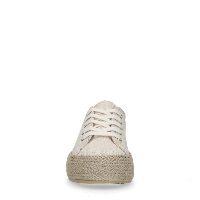 Beige glitter sneakers met touwzool