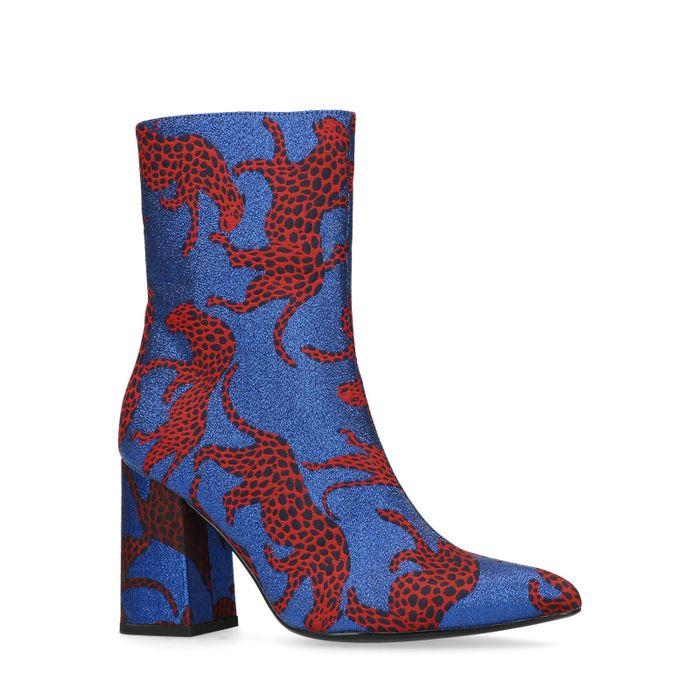 Blauwe enkellaarsjes met hak met rode panters