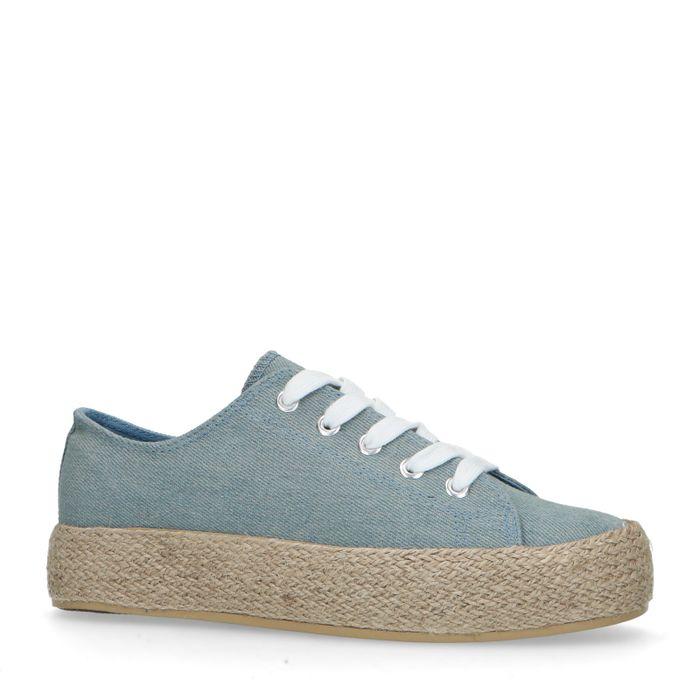 Blauwe sneakers met touwzool