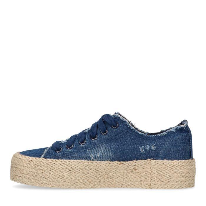 Denim platform sneakers met touwzool