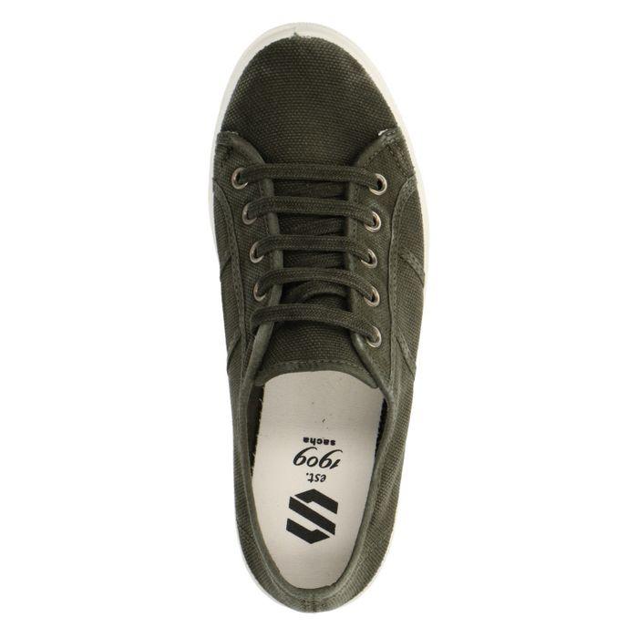 Donkergroene lage sneakers