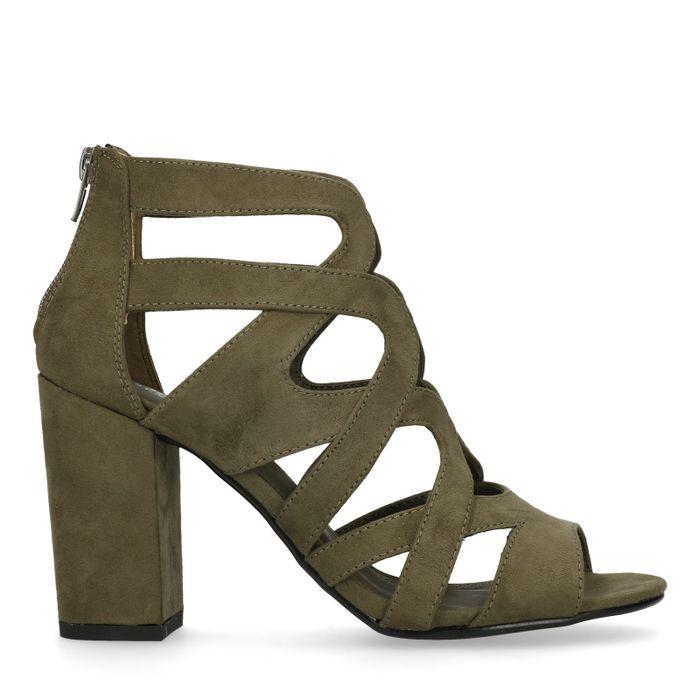Donkergroene sandalen met hak