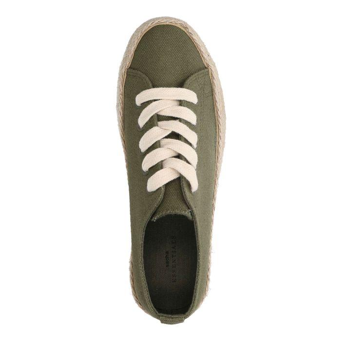Donkergroene sneakers met touwzool