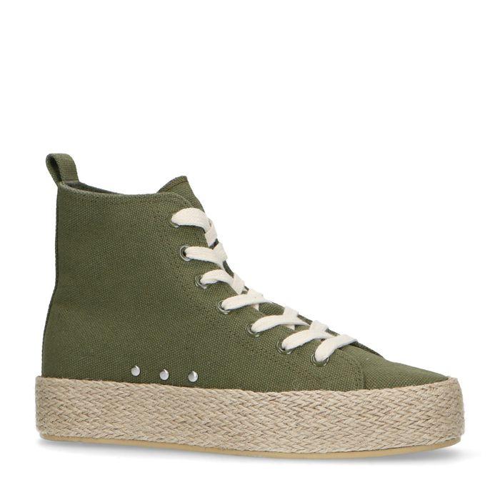 Halfhoge donkergroene sneakers met touwzool