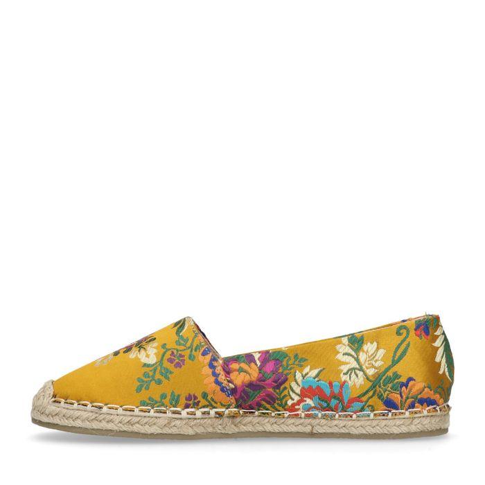 Gele bloemenprint espadrilles