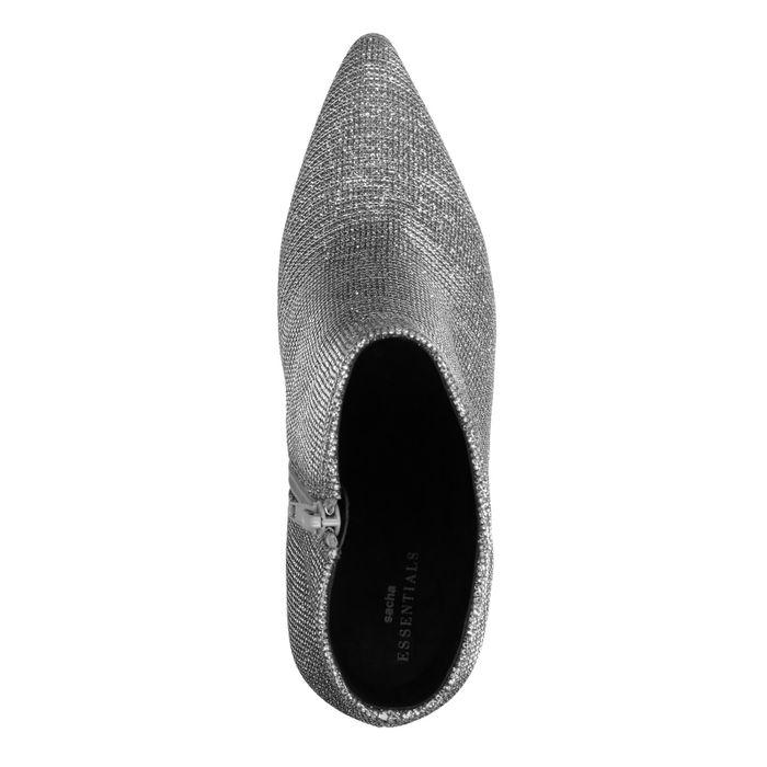 Zilveren glitter enkellaarsjes met naaldhak