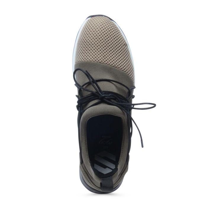 Lage sneakers khaki met opvallende veters