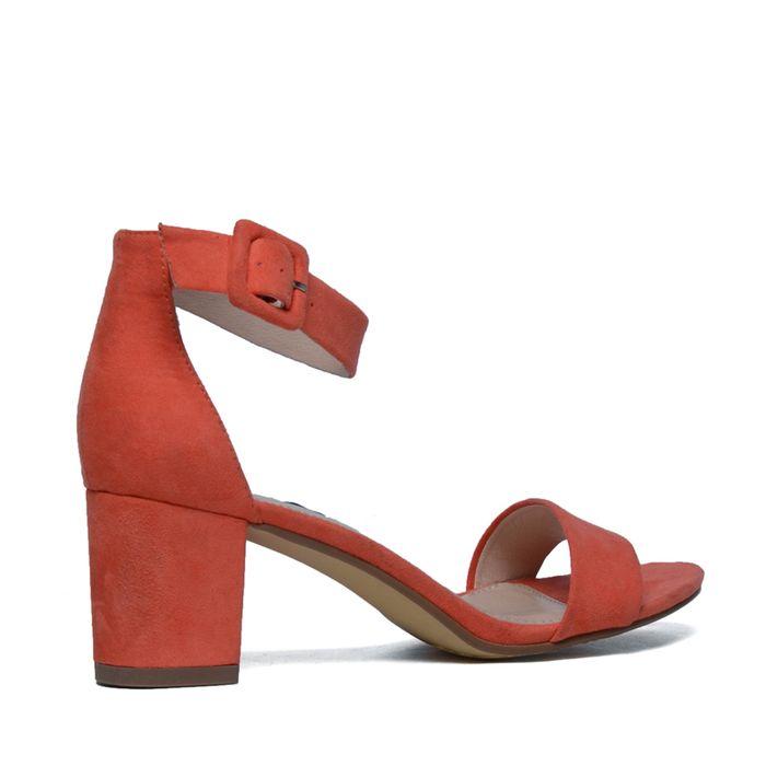Sandalen met hak koraal