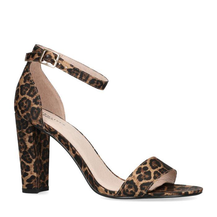 Sandalen met hak panterprint