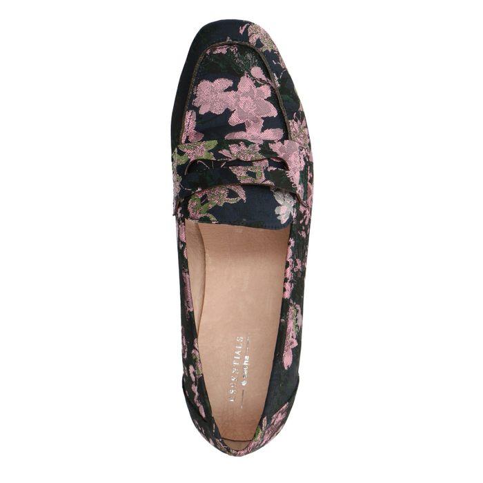 Zwarte loafers met roze bloemenprint