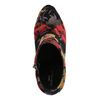 Donkergrijze glitter enkellaarsjes met hak met bloemenprint