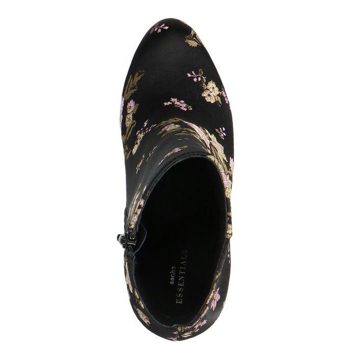 Zwarte satijnen enkellaarsjes met hak met bloemenprint