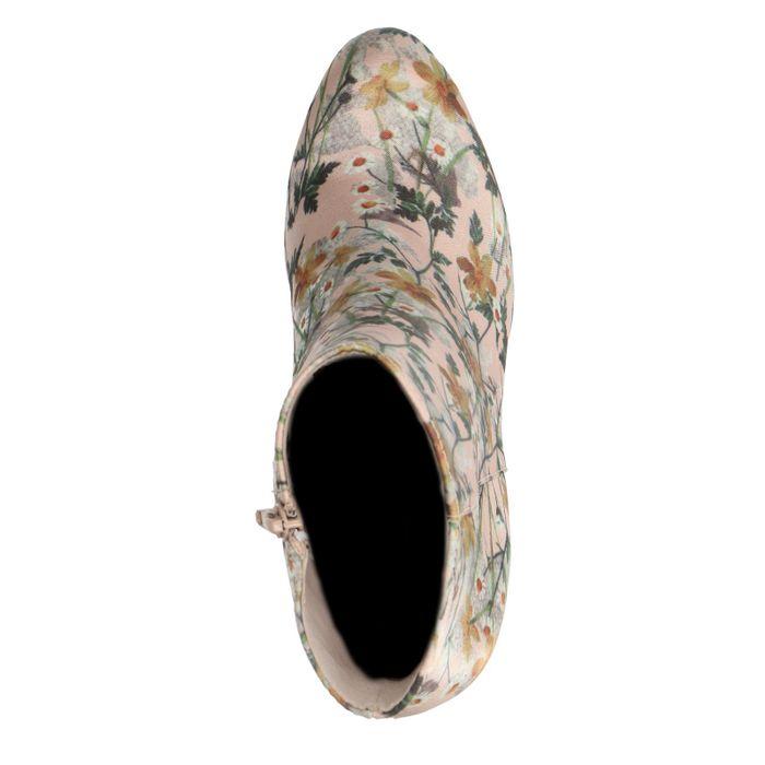 Nude enkellaarsjes met hak bloemenprint