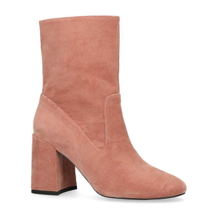 Roze ribstof korte laarzen met hak